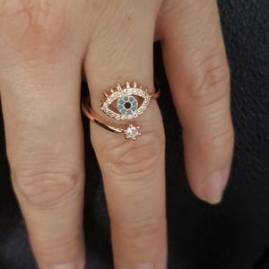 Jewelry - Rose Gold Blue Evil Eye adjustable ring